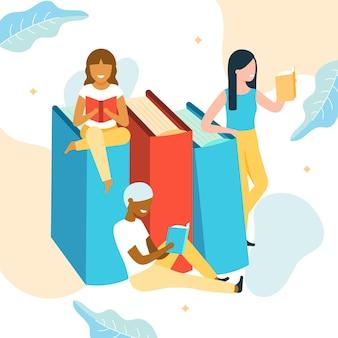 女性が読んでいる有機世界図書の日のイラスト