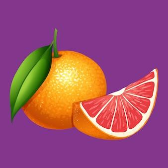 An organice grapefruit on purple background