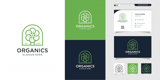 Organics with line art logo and business card design, nature, life, company, green, icon, business card, premium