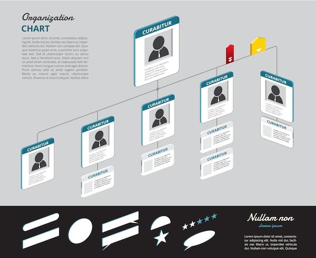 ツリーによる組織図のinfographics、図のフロー。ベクトルイラストレーション。
