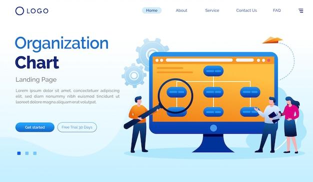 Organization chart landing page website illustraiton flat vector template