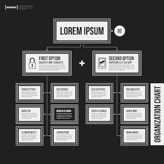 Organization chart template with geometric elements on black background
