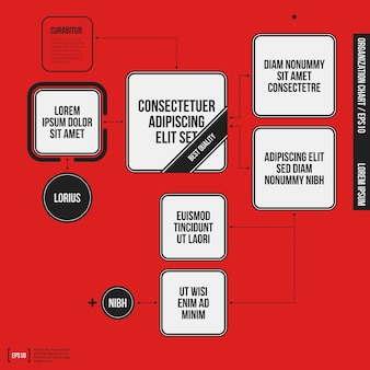 Organization chart template with geometric elements on bright red background. useful for science and business presentations.