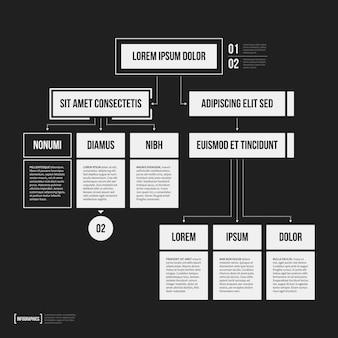 幾何要素を含む組織図テンプレート(黒い背景)。科学やビジネスプレゼンテーションに役立ちます。