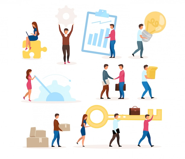 Organization functioning flat illustration set. company employees working together. business model. teamwork, cooperation. effective workflow. isolated cartoon character on white background