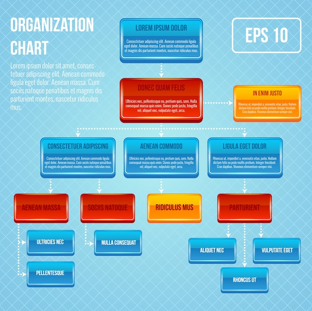 Organizational chart 3d concept business work hierarchy flowchart structure vector illustration