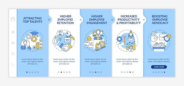 Organizational culture benefits onboarding vector template. responsive mobile website with icons. web page walkthrough 5 step screens. retention, profitability color concept with linear illustrations
