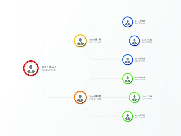 会社の組織構造。ビジネス階層インフォグラフィック要素。