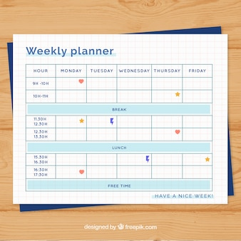 Organized weekly planner