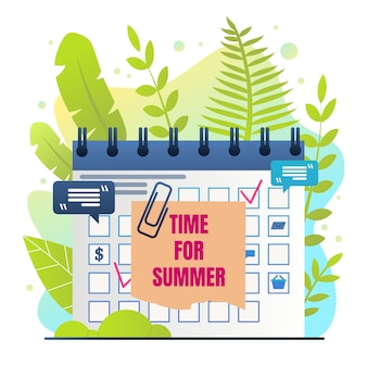 Organizer inscription time for summer cartoon