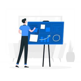 Organizzazione dell'illustrazione di concetto di progetti