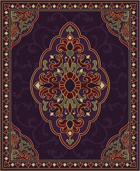 Oriental abstract ornament. colorful template for carpet, cover, shawl, textile. ornamental colorful pattern with filigree details.