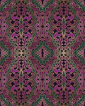 東洋の抽象的なパターン。緑と紫の飾り。