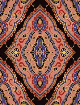 東洋の抽象的なパターン。テキスタイルのベクトルテンプレート。