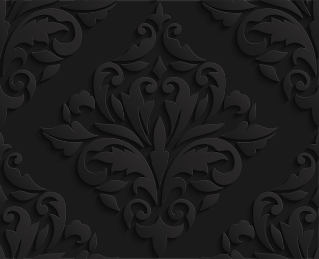 Oriental black 3d damask seamless pattern