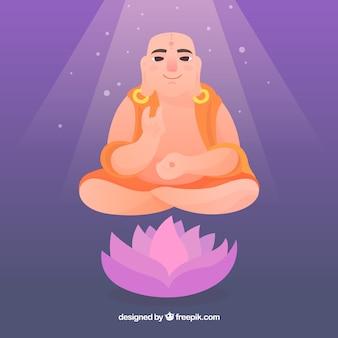 Budha orientale con design piatto