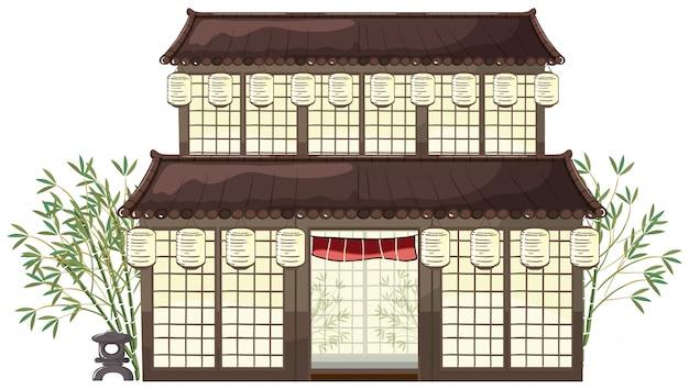 灯篭と竹のある東洋の建物