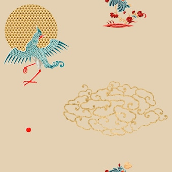 Oriental chinese art vector seamless background