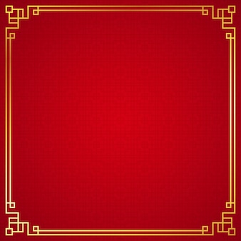 Oriental chinese border ornament on red background