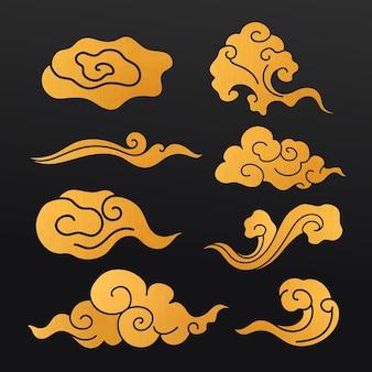Восточный стикер облака, золотой японский дизайн клипарт векторная коллекция