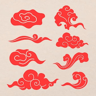 Восточный стикер облака, красный японский дизайн клипарт векторная коллекция