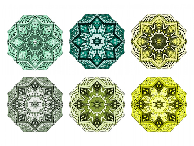 Oriental colorful mandala set. indian creative ornament.