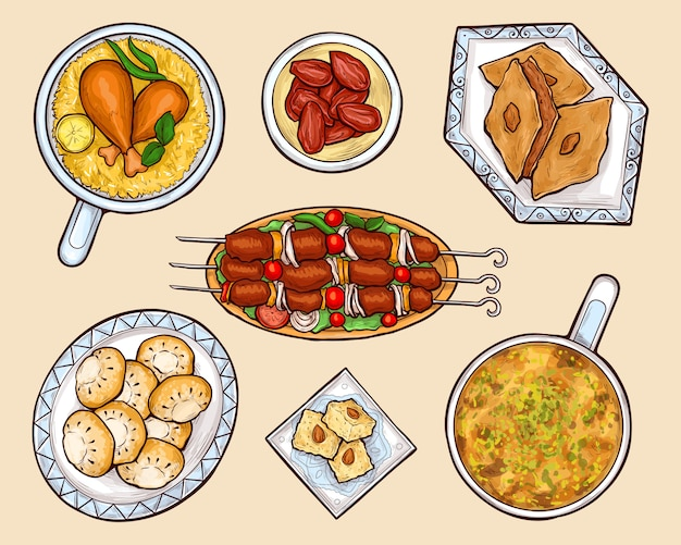 Oriental cuisine dishes cartoon vector set