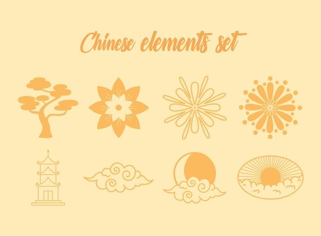 Oriental element decoration bonsai flowers pagoda cloud icons set illustration line design