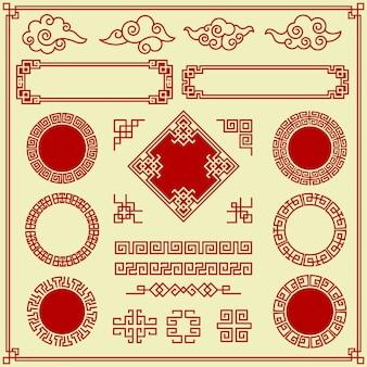 Восточные элементы. богато украшенные облака обрамляют границы разделителей традиционных азиатских предметов украшения винтажном стиле. восточный традиционный декор рамы