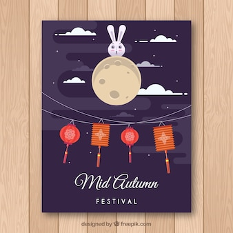 Oriental festival poster with flat design