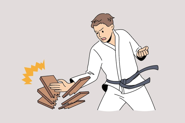 Восточные бои и концепция военного искусства. молодой человек в белом кимоно, делая толчок рукой, ломая лес, чувствуя себя сильным и уверенным, векторная иллюстрация