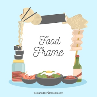 Oriental food frame with flat design