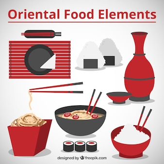 Oriental food and red elements
