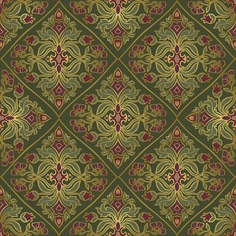 꽃과 함께 동양 녹색 패턴입니다.