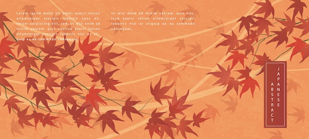 Oriental japanese style abstract pattern background design autumn plant red maple leaf branch