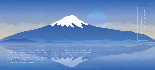 Oriental japanese style abstract pattern background design landscape view of blue sky lake and fuji mountain