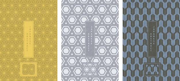 Oriental japanese style abstract seamless pattern background design geometry polygon cross frame star and arrow