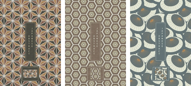 Oriental japanese style abstract seamless pattern background design geometry star polygon, cross and oil umbrrella
