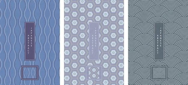 Oriental japanese style abstract seamless pattern background design geometry wave move dot line and polygon cross frame