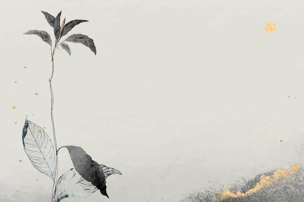 베이지색 배경에 자세한 동양 나뭇잎과 금