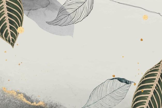 Foglie orientali e dettagli in oro su fondo beige