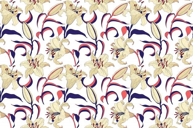オリエンタルリリー花明るいシームレスパターン
