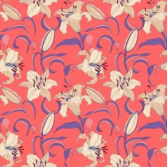 オリエンタルユリ花ピンクのシームレスパターン