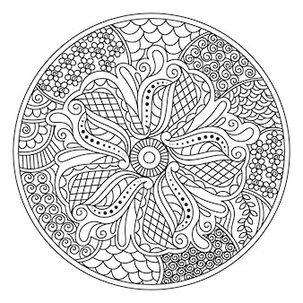 Oriental mandala design for coloring book. round decorative element with floral design.