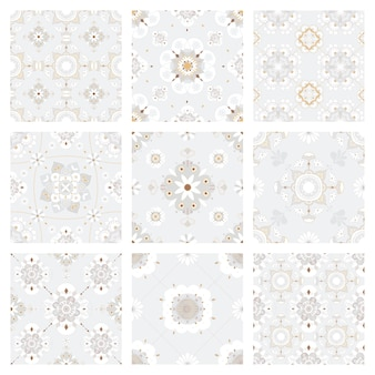 Oriental mandala gray tile  pattern background collection