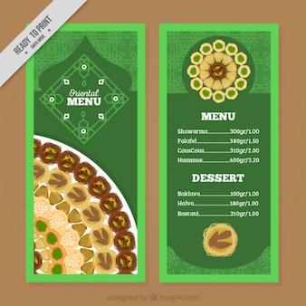 Шаблон восточные меню с рисованной пищи