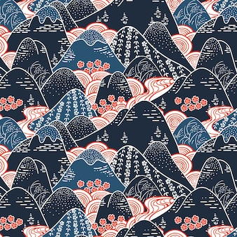 Oriental mountains kimono fabric seamless pattern