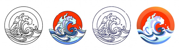 Oriental ocean wave water and sun.