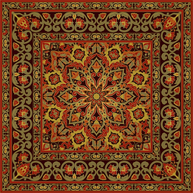 Oriental ornamental carpet.