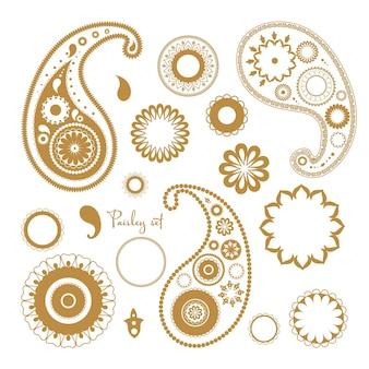 동양 페이즐리 요소 집합입니다. 꽃 추상 장식품의 컬렉션입니다.
